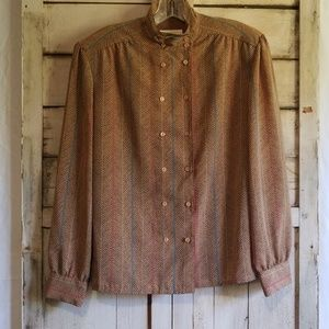 Vintage 90s Taupe Double Breast Button Blouse 12